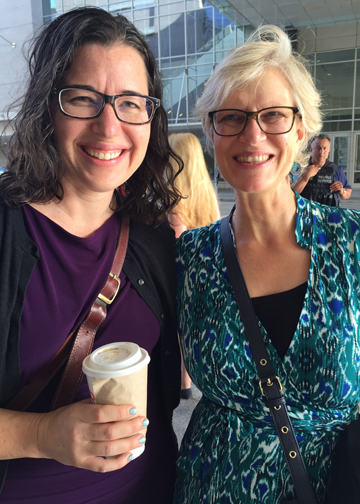 Marilyn Watkins, Economic Opportunity Institute, and Andrea Paluso, Family Forward Oregon, in line with 5,000 other people waiting to go through security for White House Summit.