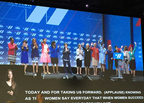 """House Democratic Leader Nancy Pelosi declaring, """"When women succeed, America Succeeds,"""" and introducing other women members of Congress."""