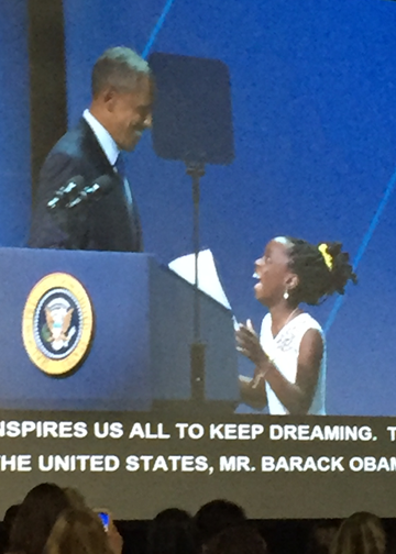 Mikaila Ulmer, 11-year-old CEO of Me & the Bees Lemonade, introducing President Obama.