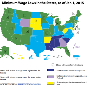 How state minimum wages compare to the federal level. Image credit: Economic Policy Institute